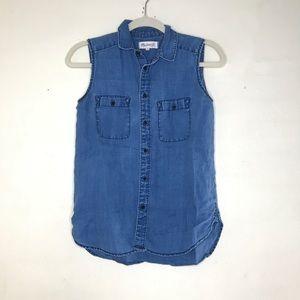 Madewell Sleeveless Denim Tank Top Button Up Shirt